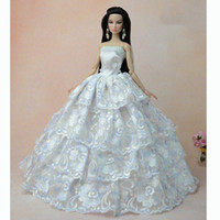 Wholesale 2016 New Fashion White Handmade Fashion Wedding Gown Dresses Clothes Party For Princess Doll Xmas Gift
