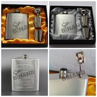 Wholesale 60sets Luxury Hip Flask oz set Portable Stainless Steel Flagon Wine Bottle Gift Box Pocket Flask Russian Flagon L77