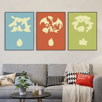 baby room decor games - Modern Triptych Pop Japanese Anime Poke Monster Game Canvas A4 Print Poster Wall Pictures Kids Baby Room Decor Painting No Frame