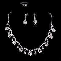 Wholesale New Arrival In Stock Wedding Jewelry Accessories Rhinestones Bridal Neckless and Earring Sets Cheap Flower Party Jewelry Set