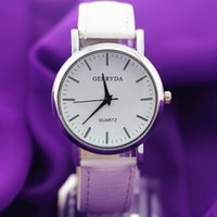 battery plates - Hot selling PVC leather band silver plating round case simple dial Gerryda fashion unisex quartz battery leather watches