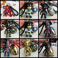 america lock - latest design fashion accessories captain america bear spiderman keychains Carabiner Keychains lover car key rings