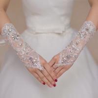 al por mayor fingerless wedding gloves white-El cordón hueco sin dedos de los guantes nupciales del Rhinestone blanco barato barato de la manera rebordeó los accesorios Q07 de los guantes de la boda