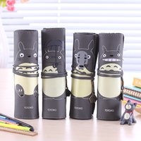 Wholesale Pieces My Neighbor Totoro Cute PU Roll Pencil Bag amp Case Japanese Cartoon Anime Large Capacity Cylindrical Storage Bag