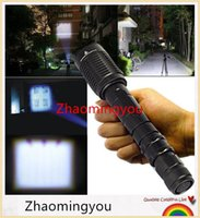 Wholesale HONG Super Bright lumen Portable XML T6 LED Flash light Torch Mode Zoomable Flashlight Torch For Camping by x18650