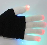 Wholesale LED Colorful Flashing Finger Lighting Gloves Flash light emitting Christmas ghost dance gloves white fingertips lantern gloves