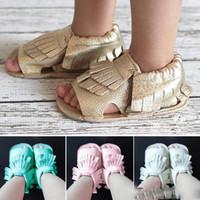 Wholesale drop shipping Seven Harper Style Baby PU Leather Shoes Moccasins Soft Shoe Open Toe Handmade Sandel Tassel Toddler Prewalker For T