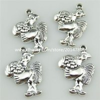 big rooster - 20461 X Vintage Silver Alloy Cartoon Big Wing Rooster Cock Food Pendant Girls