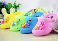 Wholesale Childrens Sandals New Childrens Sandals Baby Sandy Beach Cartoon Bear Hole Shoes Cool Bear With Lamp Crystal Jelly Slippers yard