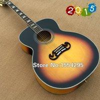 acoustic basswood spruce - High quality Acoustic Guitar G j200 VS color Sunburst guitar J Solid Spruce top