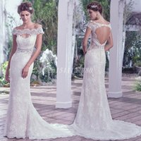 Wholesale Elegant Off Shoulder Lace Wedding Dresses Beading Appliques Short Sleeve Mermaid Wedding Gowns Backless Sweep Train