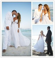 Wholesale Cheap Chiffon Beach Wedding Dresses Spaghetti Straps Cut Out Plunging V Neck Destination Wedding Dress Flowy Cheap Bridal Dresses