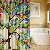 Wholesale 2016 Stylish Big Color Scenery Tree Design Bathroom Waterproof Fabric Shower Curtain AAACBP X180cm With Hooks