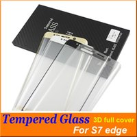 Wholesale S7 Edge S6 Edge Screen D Protector tempered glass Full Cover Curved Glass H Hardness For galaxy colorful wooden Retail box Free DHL