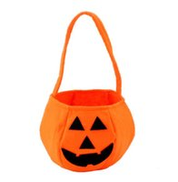 Wholesale 2016 New Halloween Pumpkin Bags Halloween pumpkin Bag Children Solid Hand Candy Basket Masquerade Party Performance Props Party Supplies