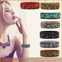 Wholesale Fashion Leather Warp Bracelet Bangle Handmade Gravel Stone Crystal Wristband Bracelets For Women Friendship Jewelry Gift