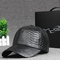 Wholesale Serpentine PU leather Men Women New Arrival Unisex light board Adjustable Baseball Cap Cotton Hip Hop hat Cool Floral handsome