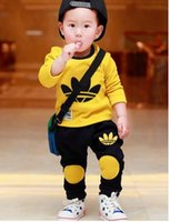 Wholesale kids boys autumn spring style infant baby boy clothes set clothing sets cotton little monsters baby girl clothes set