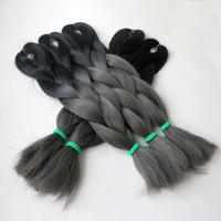 Precio de Trenzas grises oscuros-Ombre de Kanekalon pelo trenzado trenzas ganchillo giro 24inch 100g de tono gris BlackDark dos extensiones de cabello trenzado sintético