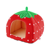 Wholesale 2016 Popular New Soft Strawberry Pet Igloo Cat House Kennel Doggy Fashion Cushion Basket Puppy Sleeping Mat Nest Warm Winter Bed