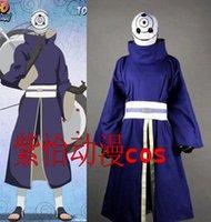 akatsuki tobi costume - Naruto Akatsuki Ninja Tobi Obito Madara Uchiha blue Cosplay Costume set top pant gloves No Mask