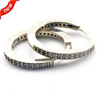 Wholesale Compatible with European Jewelry Signature Silver hoop earrings New Sterling Silver Earring DIY