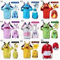 al por mayor las mujeres camiseta de la cremallera-Poke Hoodies Sudadera Hombres Mujeres Dibujos Pikachu Eevee Pokeball Zipper Espesar invierno abrigo Tops 11 diseños LJJO755