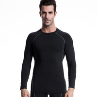 Wholesale Men s Compression Tight T shirt Long Sleeve Solid colors Basic Spandex GYM Fitness Workout Running Base Layer Tops