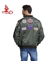 air force patches - Freelee new Men s patches top gun military army green letterman air force Windbreak jacket pilot bomber flight jacket