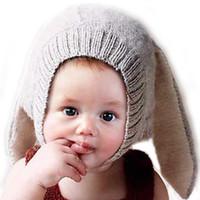 baby earmuff - 2016 Baby Rabbit Ear Winter crochet Earmuff Earcap Knit Hats infant caps hat Christmas gift gifts children box girl kid s cap years