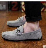 Cheap Youth tide shoe Fashion Men's shoes Breathable The lazy Pure color Work shoes Driving shoe wear-resisting Suede round head flat shoes Black