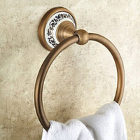 antique bar accessories - Solid Brass Copper antique Finished Bathroom Accessories Products ceramic Towel Ring Towel Holder Towel Bar