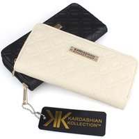 Wholesale KARDASHIAN KOLLECTION Women Famous Brand Designer PU Leather Wallet Female Plaid Thread Purse Girl KK Clutch Clip Portefeuille Femme kk0160