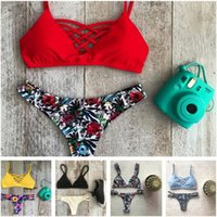 Wholesale 2016 new Printed Swimwear Bikini Neoprene Swimsuits Bathing Suit Push Up Bikini Vintage Maillot De Bain B2003