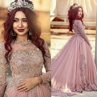 Wholesale 2016 Ball Gown Long Sleeves Wedding Dresses Princess Muslim Western Wedding Dresses Bridal Gowns With Beads