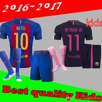 Wholesale Best Quality Barcelonaes kids Jersey Home Away MESSI SUAREZ NEYMAR JR I RAKITIC Jersey