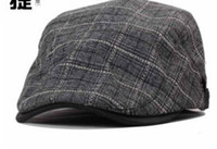 Wholesale adjustable cap berets YJY A008 spring and summer hat and peaked cap leisure cap British grid Plaid hat cap forward colors black coffe grey