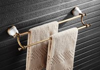 Wholesale Rushed Newly Wall Mounted Bathroom chrome bars Golden Finished Double Bar Ceramics Base Towel Holder Rack rail Solid Brass