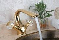 Wholesale centerset brass basin water tap dual crystal handle golden basin faucet single mixer water tap