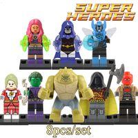 batman hood - 8pcs Super Hero Minifigures Blue Beetle Robin Raven Red Hood Building Blocks Avengers Teen Titans Batman Action Kids Bricks Toys