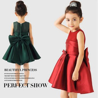 Wholesale Flower girl dress red wine green children dress Princess Dress piano suit Costume Suitable for children years of age elegant and bless