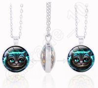 alice gems - Alice In Wonderland Pendant Necklace Cheshire Cat Queen of Hearts Necklace Fashion Time Gem Double Side Necklace LJJQ181