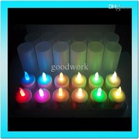 al por mayor 12 velas led recargable-Venta al por mayor-2015 calientes 12 piezas recargables llevó la vela con control remoto flameless colorido Home Decor