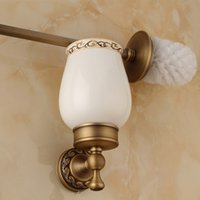 Wholesale High end Wall Mounted Toilet Cleaning Brush Antique Brass Toilet Brush Holder bathroom accessories DG F