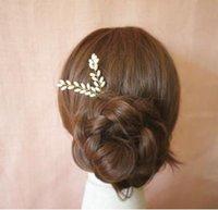 Wholesale Hairpins Fashion Jewelry Vintage Elegant High Quality Imitation Pearls Leaves Wedding Hair Jewelry Piece SHR448