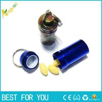 aluminum storage container - 22 mm Portable Stash Pill box case medicine Storage Keychain Bottle Keyring Key Ring metal Aluminum Waterproof pill Bottle Container new