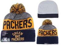 Prezzi Wool hat-Album offerti New 100% gioco del calcio superiore Packers invernali cappelli per gli uomini le donne di lana Skull Caps Skullies maglia di cotone cappelli cappello verde Bay
