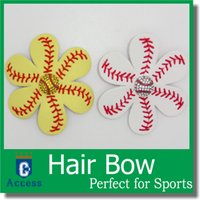 Wholesale Softball Flower Accessory and hair clip softball hair bows Bling Hairbow