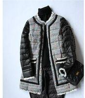 Wholesale 2016 winter tweed mosaic fringed edge thin slim white eiderdown long down jacket female