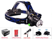 Wholesale 2000Lm Waterproof C XML T6 Zoom led Headlamps Headlight Zoomable Adjust Focus For Bicycle Camping Hiking USB Cable battery